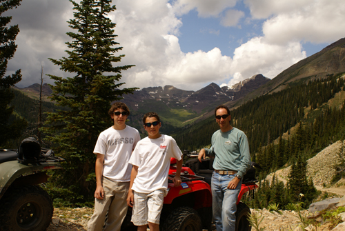 Bloomfield family atv's over pearl pass near crested butte colorado